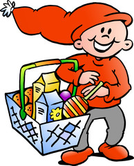Happy Christmas Elf  with a shopping basket