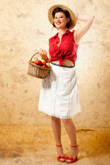 Smiling Pin Up Farmer with Wicker Basket