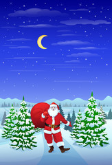 Santa Claus in winter forest woods hold sack christmas eve