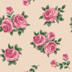 vector seamless background with pink roses in retro style