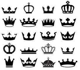 vector set of retro crowns