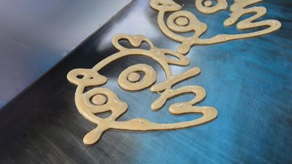 Cooking cartoon pancake, Time Lapse. HD