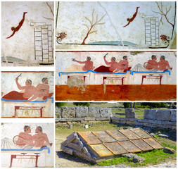 Collage ancient Greek Fresco. Paestum, Italy