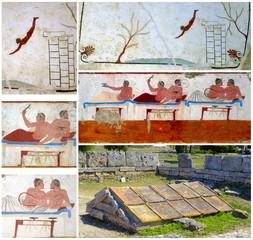 Collage ancient Greek Fresco. Paestum, Italy