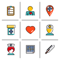 Isolated line icons set Medical care and health modern trendy