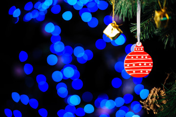 christmas decorations on bright background