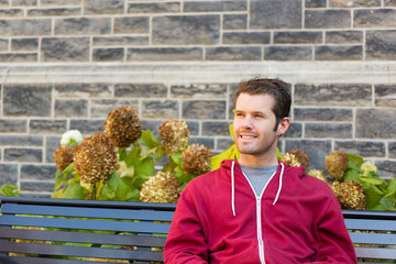Happy Man on a Bench