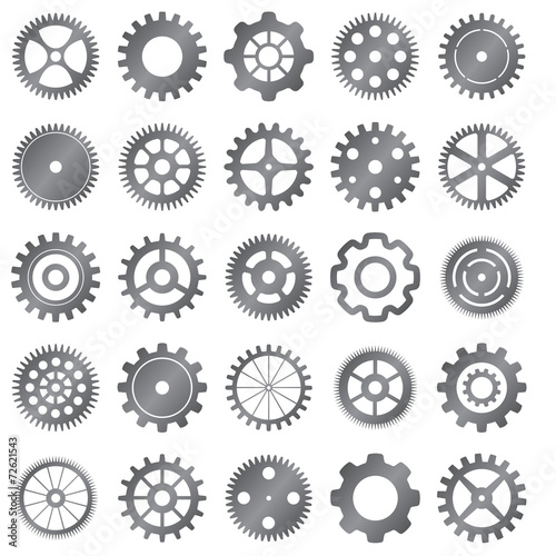 vector set of gear wheels on white background - 72621543
