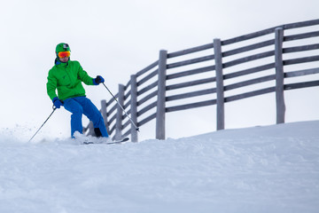 Skier coming down the slope