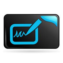 signature sur bouton web rectangle bleu