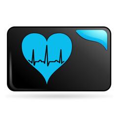 tracé cardiaque sur bouton web rectangle bleu