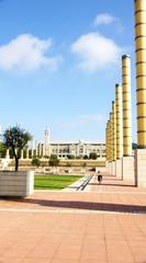 Columnas de luz en la Anilla Olímpica de Montjuic
