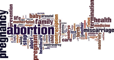 Abortion word cloud concept. Vector illustration