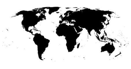 Black isolated World map EPS8 vector file