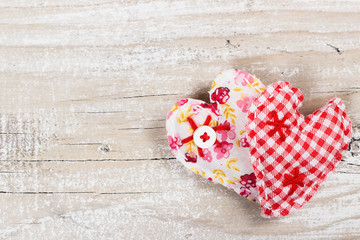 Two decorative fabric heart for Valentines day