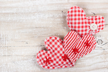 Three decorative fabric heart for Valentines day