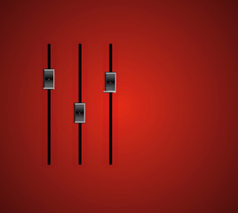 three audio stereo slider on red gradient background