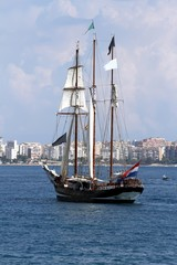 Schooner anchored in Alicante bay