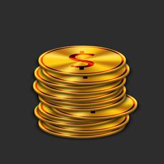 vector modern gold dollar on dark background.