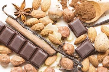 Almonds and hazelnuts with spices and chocolate