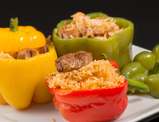 Cuban Cuisine: Bell Peppers Stuffed with Yellow Rice