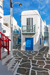 Typical architecture in the old town of Mykonos