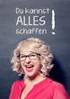 canvas print picture - erfolgreiche Geschäftsfrau vor Tafel-business rocks17german