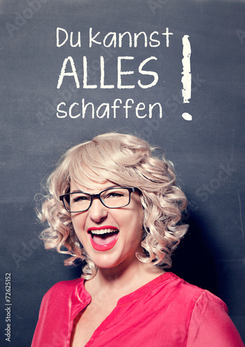 canvas print picture erfolgreiche Geschäftsfrau vor Tafel-business rocks17german