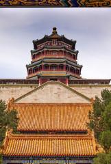 Longevity Hill Tower Orange Roofs Summer Palace Beijing