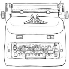 Electric vintage Typewriter line art