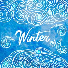 Winter hand drawn doodles