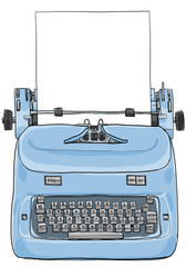 Electric vintage Typewriter with paper art painting