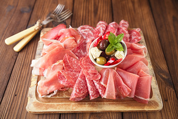 antipasti Platter of Cured Meat,   jamon, olives, sausage, salam