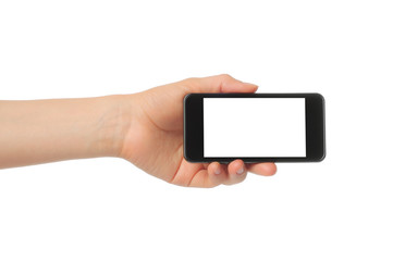 Hand holding smart phone isolated