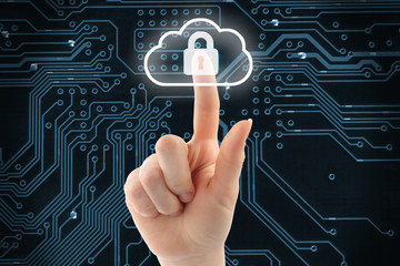 Hand pushing virtual cloud security button