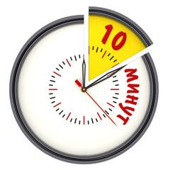 Интервал времени 10 минут. Часы с надписью