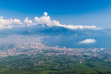 Aerial view of a countryside around Mount Vesuvius