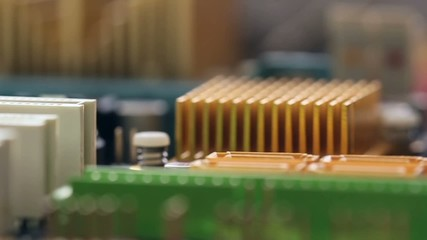 Close up footage of a PC computer mother board in motion