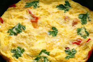 scrambled eggs with parsley and sweet pepper