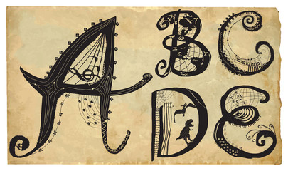 curly playful alphabet - hand drawn vector - part: A-E