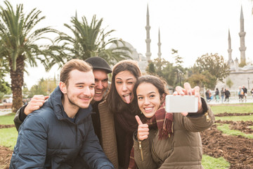 Group of Turkish Friends taking Selfie in Istanbul