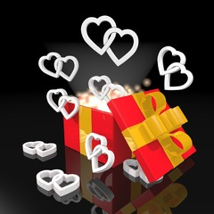 noble christmas present with two hearts icon