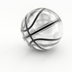 Glass or crystal sports equipment isolated on white background.