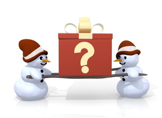 question sign presented by two snowmen