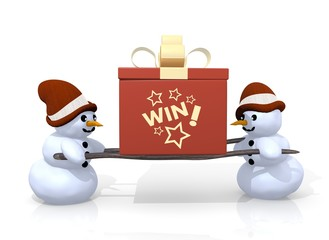 win symbol presented by two snowmen