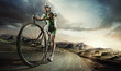 canvas print picture - Sport. Road cyclist