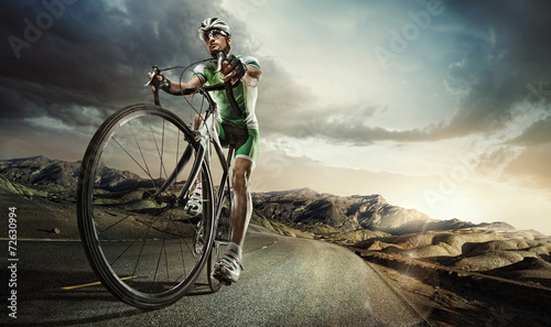 canvas print picture Sport. Road cyclist