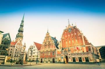 Vintage retro postcard of Town Hall Square in Riga Latvia