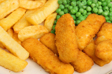 Fish Fingers, Chips and Peas