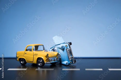 Tuinposter Vintage cars Traffic Accident
